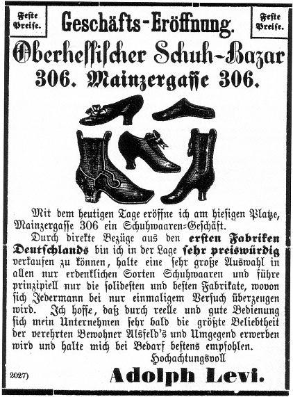 """Oberhessischen Schuh-Bazars"""" von Adolph Levi"""